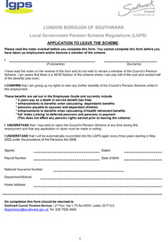 Icon for Application to leave the scheme