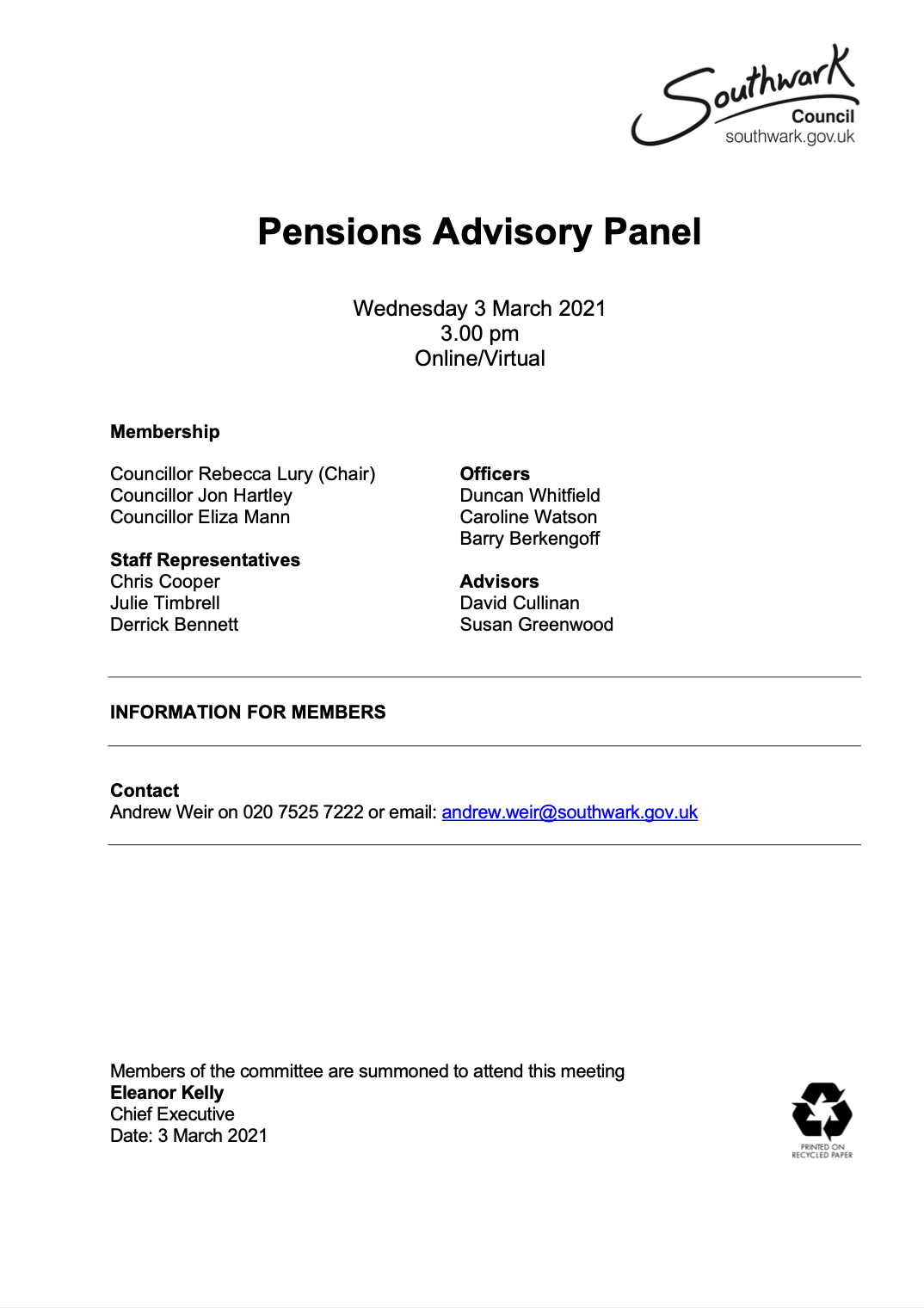 Icon for Agenda - 3 March 2021